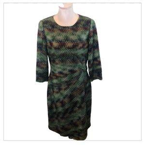 Tahari Career Textured Fall Zig Zag Dress